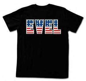 Evel Knievel Motorrad Daredevil Stars Stripes Name lizenzierten Erwachsenen T-Shirt