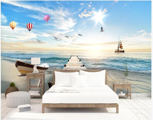 Пользовательские обои для стен 3 d фрески обои 3D средиземноморский воздушный шар фреска на деревянном мосту ТВ фон обои