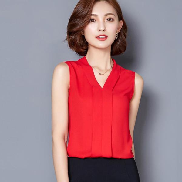 2017 mujeres de la manera camisas de gasa de verano más el tamaño con cuello en v sin mangas de ropa sólido blanco rojo negro sexy party club de negocios