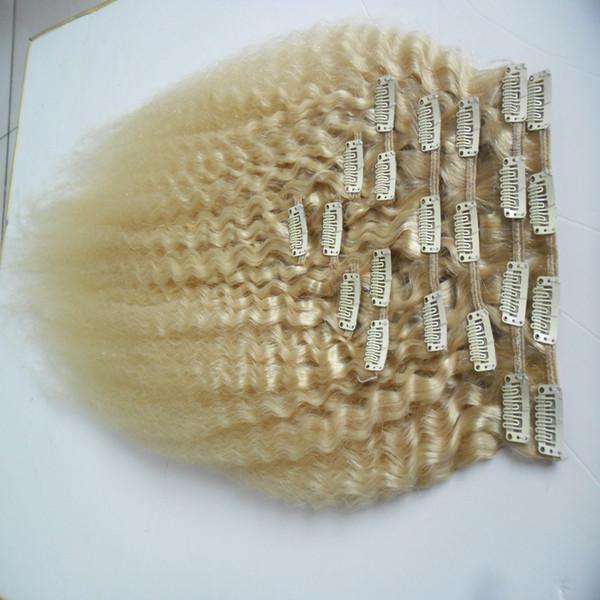 Clip diritta crespa dei capelli di Remy del brasiliano di massima Yaki nelle estensioni dei capelli umani 10 pezzi e clip 100g / set nelle estensioni dei capelli