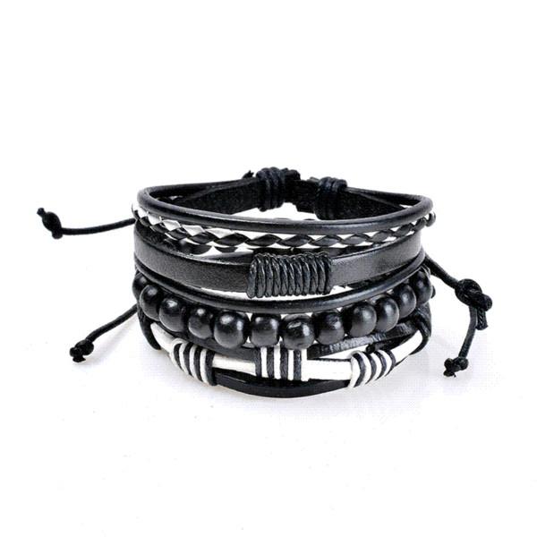 H:HYDE Punk Genuine Wrap Leather Bracelets Men Women Onyx Lava Hematite Jewelry Accessories Wholesale DIY Stone Beads Bangles