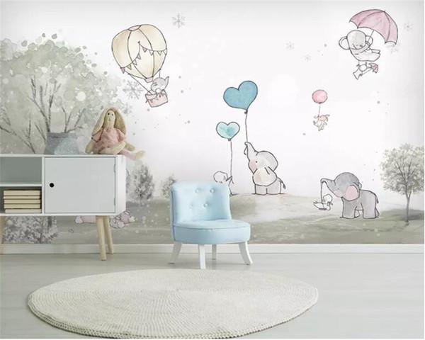 Beibehang personalizzato 3d carta da parati del fumetto bello Elephant cartone animato orso mongolfiera stanza degli animali parete di fondo 3D carta da parati