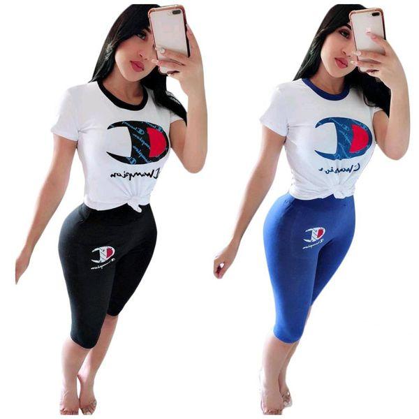 Champions lettera donna estate casual tuta abiti firmati set abiti maniche corte t-shirt + pantaloni medio leggings 2 pezzi vestito c41602