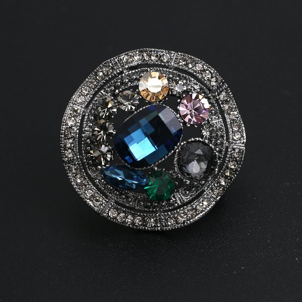 wholesale Luxury Twist Pins and Brooches Colorful Rhinestone Crystal Brooch for Women Men Suit Scarf Clip Vintage Jewelry Broche