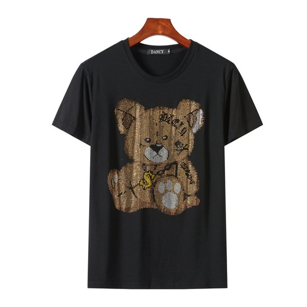 2019 Bear Rhinestones T Shirts Men Brand Short Sleeve Fashion Man Streetwear O Neck Slim Modal Cotton Tshirts Camisetas Hombre