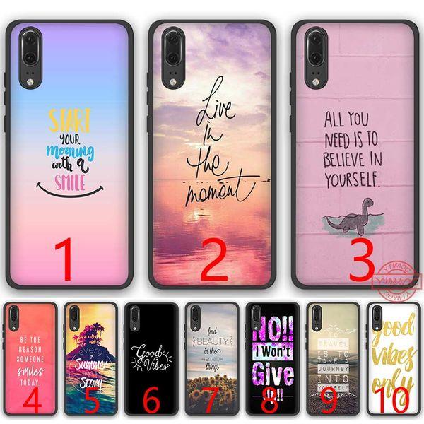 Personalizar Movil Proverbio Frase Lema Good Vibes Only Love Silicone Black Tpu Funda Para Teléfono Para Huawei P8 P9 P10 P20 Lite Pro P Smart Cover
