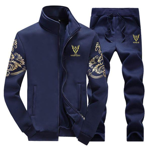 2019 Spring Zipper Cardigan Hooded Print Sportswear Men Set Tracksuits Thick Hoodie Sweatshirt + Pants Sweat Track Suit Mens