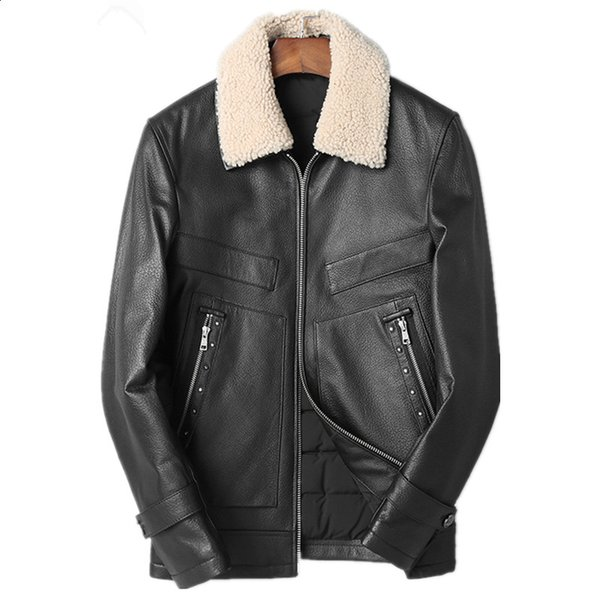 Genuine Leather Jacket Winter Jacket Men Real Wool Fur Collar Sheepskin Coat for Men 90% Duck Down Jackets Veste Homme MY1697