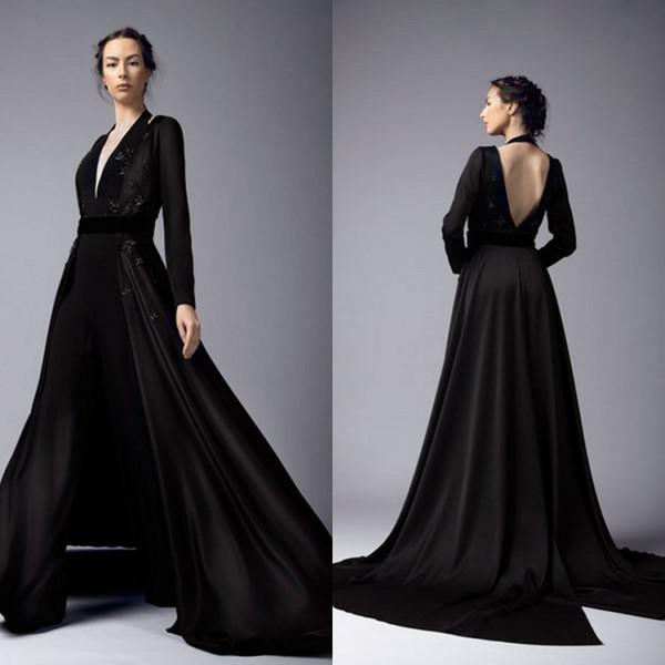 2019 черные платья выпускного вечера комбинезоны с длинным пиджаком Холтер кружева аппликация развертки поезд брюки брюки вечерние платья вечерняя одежда