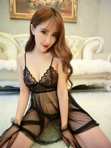 top popular Hot 2 Pcs A Set Charming Sexy Women Sleepwear Lace Babydoll Lingerie NigthDress G-string Underwear Lingerie See Through 2019