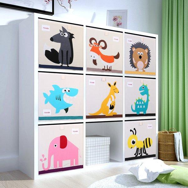 New 3d Cartoon Animal Toy Box Folding Bins Wardrobe Drawer Clothes Storage Basket Kids Toys Organizer J190713