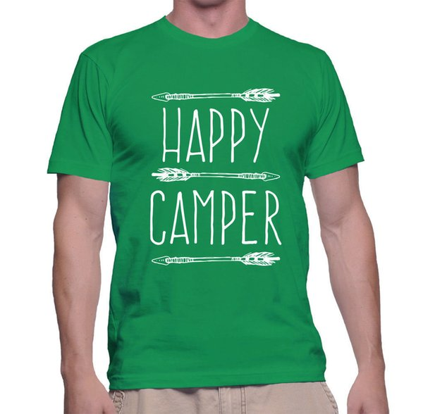 T Shirt Happy Camper Brown Funny Gear Camping All Summer XL Camp Outdoors Mens Funny free shipping Unisex Casual Tshirt