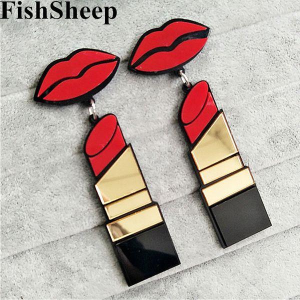 Labios FishSheep nuevo de la manera de acrílico rojo de la boca pendientes de gota de lápiz labial para las mujeres Hip-Hop geométrica larga pendiente del club nocturno joyería