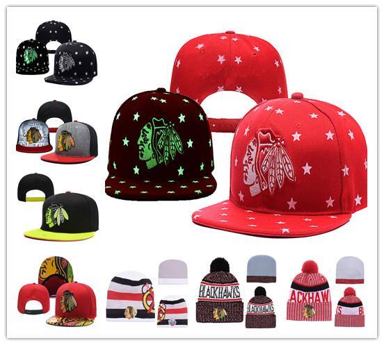 Chicago Blackhawks Buz Hokeyi Örgü Kasketleri Nakış Ayarlanabilir Şapka Işlemeli Snapback Siyah Beyaz Kırmızı Gri Dikişli Şapkalar