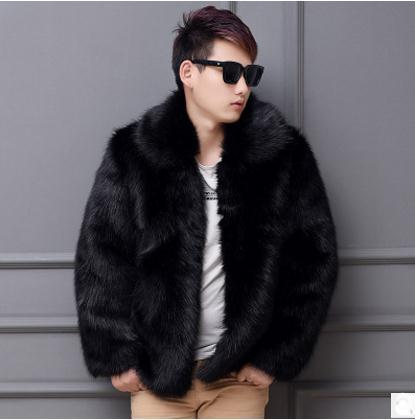 Black/White Mens Autumn Imtation Fur Overcoats Plus Size Casual Male Man-Made Fur Outwears Winter Jackets Fake Coat K540