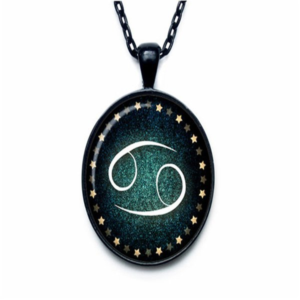 New Fashion 12 Constellations Zodiac Cancer Time Gem Glass Cabochon Choker Jewelry For Women Men Long Link Chain Statement Pendant Necklaces