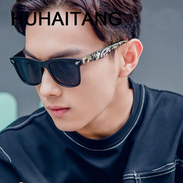 HUHAITANG luxury aviation sunglasses men vintage pattern square sun glasses high quality brand designer eyewear UV400 Oculos