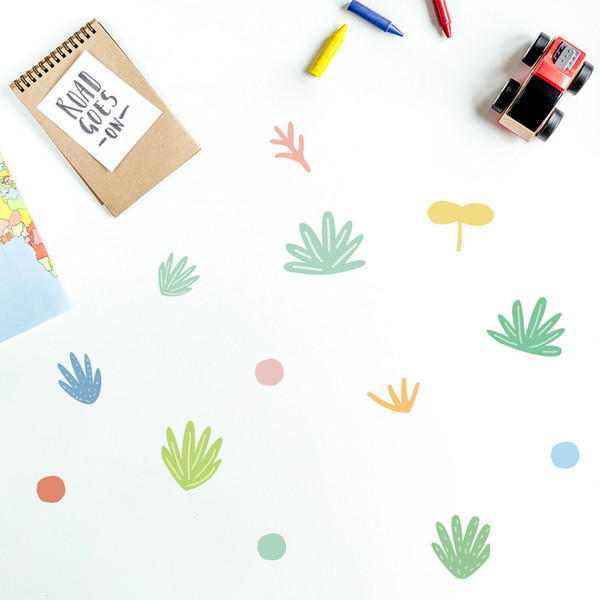 45pcs / set Mignon Herbe Points bricolage Home sticker mural décoratif enfants Chambre de bébé Dorm Cartoon mural Decal Furniture Poster