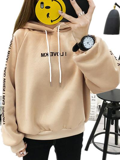 Women Sweater 2019 Hot Sale New Loose Long Sleeve Print Hoodie Spring and Autumn Plus Velvet Thick Cotton Casual