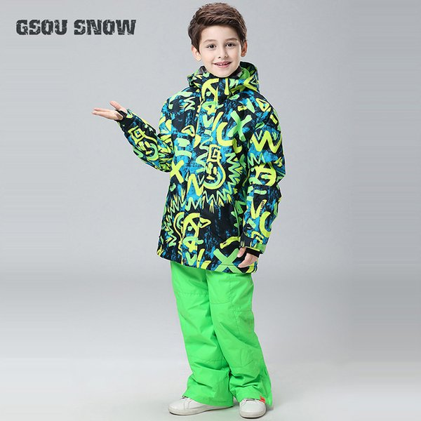 Gsou Snow Boys Kids Winter Warm Clothing Ski Suit Snowboard Jacket+Pants Windproof Waterproof Thicken Outdoor Sport Wear Suit
