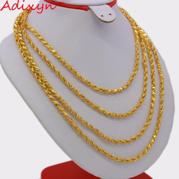Adixyn Length 200cm 4mm Ethiopian Chain Necklaces For Women/men,gold Color African Eritrean Necklace/dubai/arab N0254 J190711