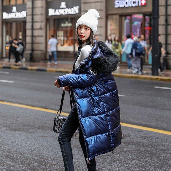 Mulheres Long destacável gola de pele brilhante com capuz Oversize Inverno de Down Brasão Student grosso casaco quente de algodão acolchoado Wadded Parkas