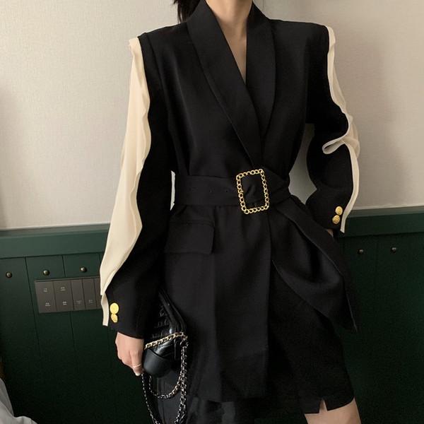 Style coréen Joint à manches longues ample costume petit manteau femmes 2019 Nouveau style printemps et à l'automne en ligne Celebrity mi-longueur Wa
