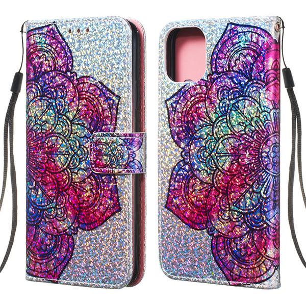 Etui portefeuille scintillant pour iPhone 11 PRO MAX en cuir PU Flip Cover Case pour iPhone Xs Max Xr 8 plus cas de téléphone de bande dessinée
