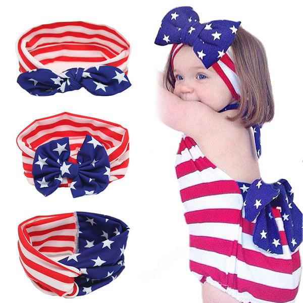 Bebê meninas bandeira EUA Coelho Orelha Arco Headbands Crianças Crianças Dia Nacional Cruz Nó Acessórios Para o Cabelo Hairbands Menina Bowknot Headwear KHA493