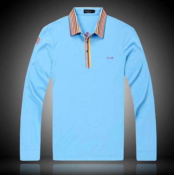 outono e inverno nova moda masculina de alta qualidade de manga comprida POLO camisa dos homens casuais POLO camisa mangas compridas tamanho M-XXL