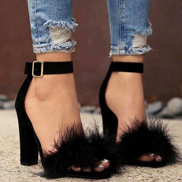 Women Sandals Shoes Women Suede High Heels Footwear Real Fur Ankle Strap Gladiator Sandals Female Wedding