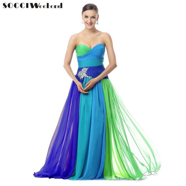 Socci verde azul chiffon longo prom dress strapless criss-cross vestidos de dama de honra cor bloco jardim formal vestidos de festa à noite