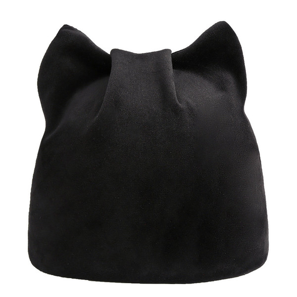 Feitong Women Hats Simple Cat Ear Autumn And Winter Beanie Hat Russian Caps Warm Cat Hats Ladies Casual Earmuffs Hat 1090