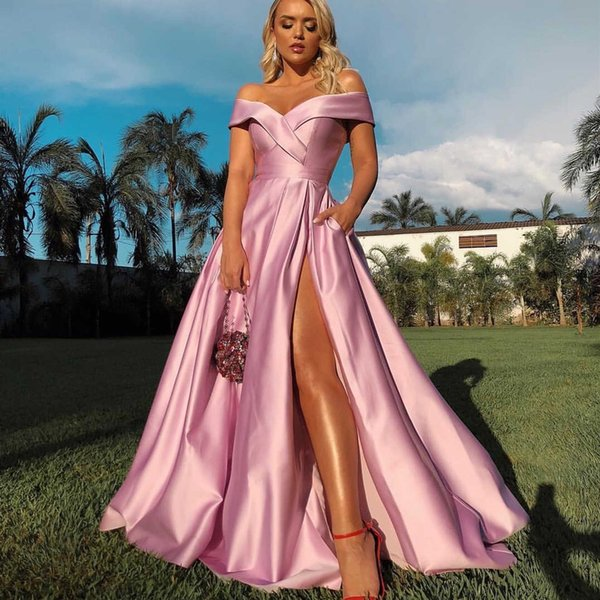 Off the Shoulder Slit Prom Dresses 2019 Cheap Simple Satin Long Evening Gowns Women Cocktail Party Ball Red Carpet Dress Formal Gown