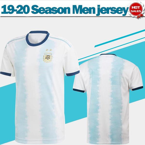 2020 Argentina Camisetas de fútbol Camiseta de fútbol local 19/20 Copa América # 10 MESSI # 9 AGUERO # 21 DYBALA # 22 LAUTARO uniformes de fútbol