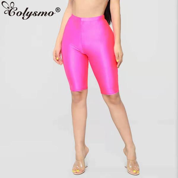 Colysmo Active Wear Biker Shorts Women 2019 Elastic High Waist Shorts Summer Neon Pink Ladies Sexy Shorts Green Short Feminino MX190714
