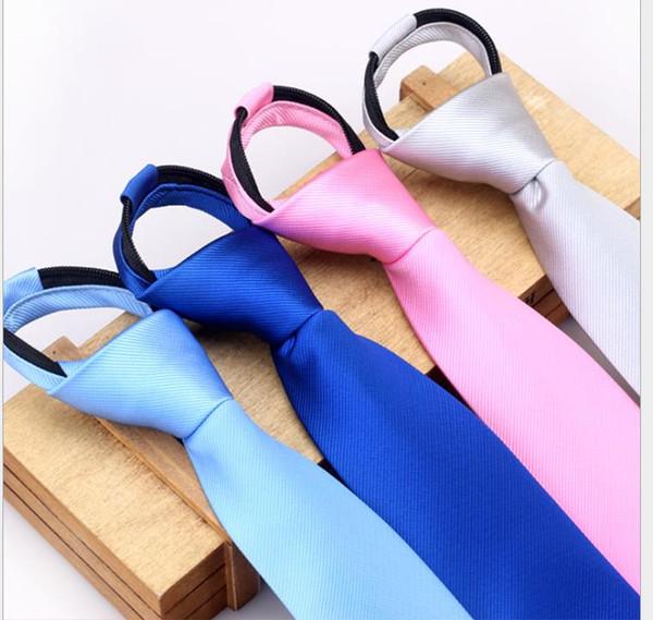 Korean Narrow Tie Tool Administrative Tie Men's and Women's Zipper Ties Easy to Pull Lazy Ties