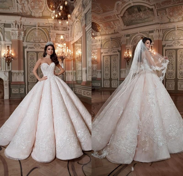 2019 Blush Pink Queen Wedding Dresses Sweetheart Hard Satin Floor Length Lace Ball Gown Custom Made Bridal Gowns