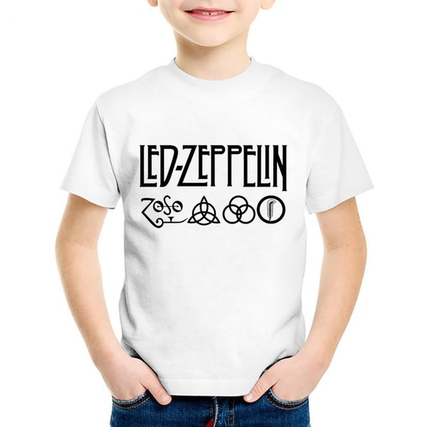 Led Zeppelin Rock Zoso Band Printed Children Fashion T-shirts Kids Summer Tees Boys/Girls Casual Great Tops Baby Clothes,HKP421