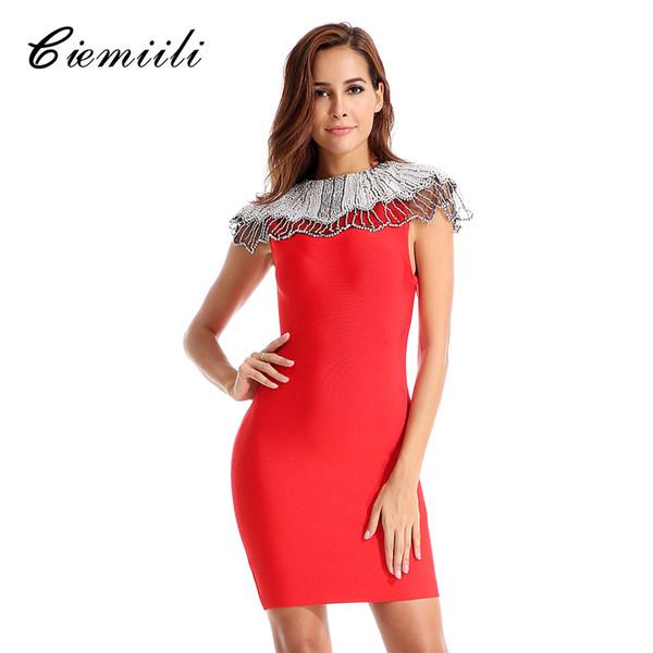 Ciemiili Yeni Kadın Seksi Bandaj Elbise Ünlü Akşam Parti Zarif 2018 Yaz Bodycon Vestido O Boyun Elbiseler Bayanlar Elbise J190511