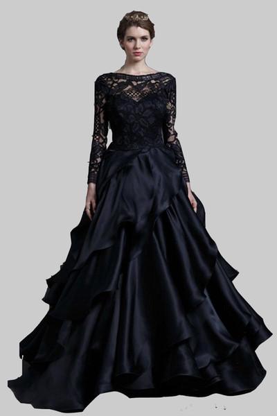 2019 New Elegant Black Scoop-neck Floor-Length Evening Dresses With Appliques Decoration Prom Dress Celebrity Dress