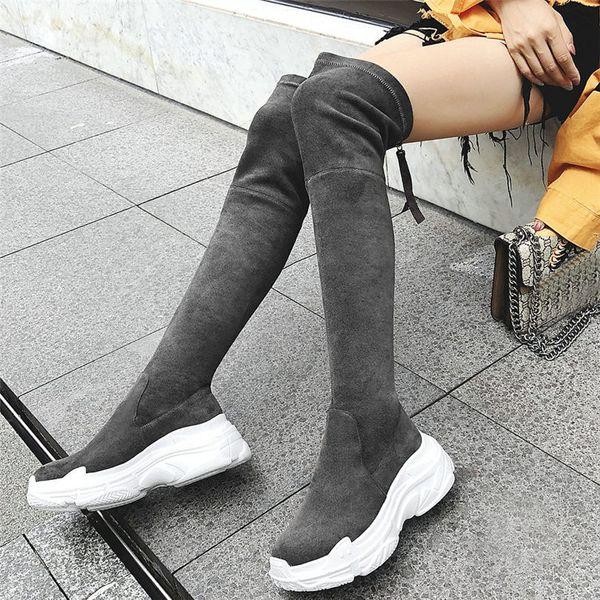 NAYIDUYUN Donna Velvet Stretch Tacco alto sopra il ginocchio Sneaker lunghe Scarpe Zeppe Platform Slim Leg Thigh Stivali alti da moto