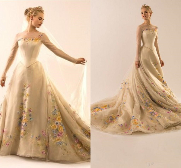 NEW Formal evening dresses Sheer Neck Appliques Chapel Train long sleeve prom dress Zipper Back Cinderella ball gown Tulle bridal Gowns