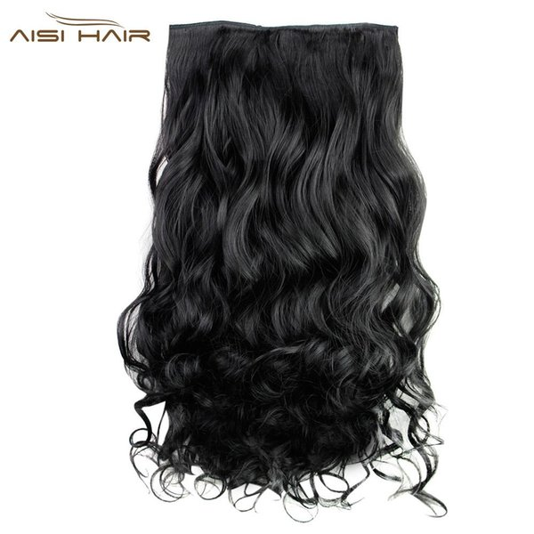AISI HAIR Long Curly Synthetic 5 Clips in Hair Extensions for Women Extensions Heat Resistant Fiber Synthetic Hair Party Cosplay BB