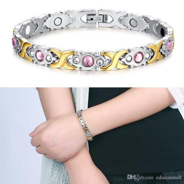 Free DHL Fashion Health Bracelet Wristband Energy Magnetic Bracelets for Women Men Jewelry Balance Therapy Bracelets & Bangles Gift B807S F