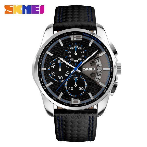 Skmei Hombres Cronógrafo Reloj Hombre Reloj de cuarzo Hombre Relojes deportivos Correa de cuero genuino Reloj impermeable Fecha Hombre Reloj de pulsera MX190717