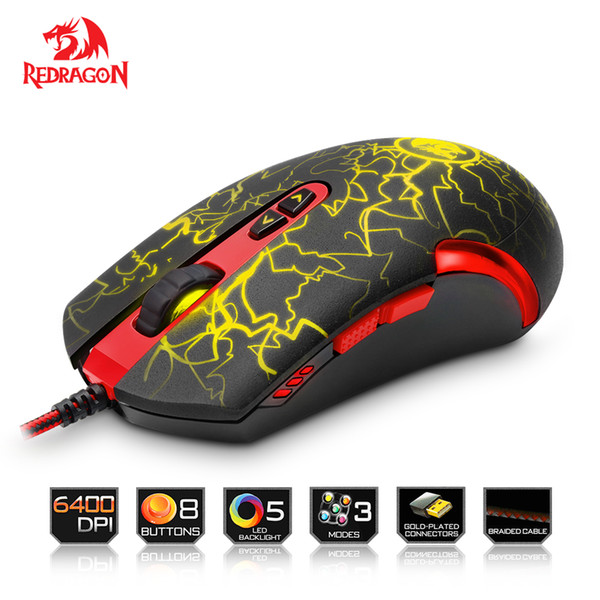 Redragon M701 Lavawolf 6400DPI Optical Gaming Mouse 7 botones programables LED Professional Gaming Mouse