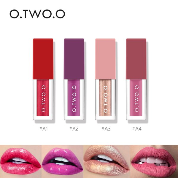 O.TWO.O Lipstick Set 4pc Sexy Batom Matte Shimmer Moisturizer Lip Gloss Liquid Makeup Long Lasting Shining Glitter Lipgloss Mate