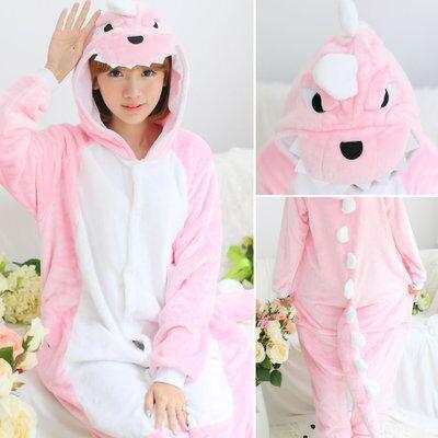 Cute cartoon onesie Animal pajamas adult Unisex Dragon Pink Green Dinosaur Onesie For women One Piece Sleepwear jumpsuits