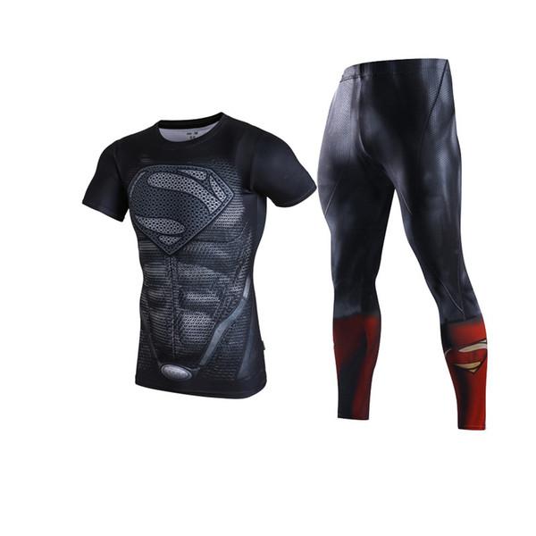 Men Superman Spiderman Running Sets Superhero Tight Pants Men's Quick Running Training Sports Fitness Suit Short Sleeved Suit #257234